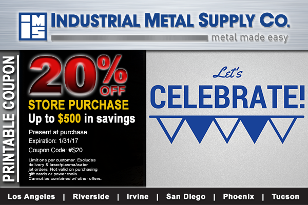 Site Launch Printable Coupon | Industrial Metal Supply